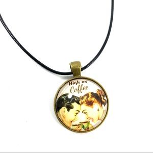 Jewelry - High on coffee glass pendant necklace (w4)